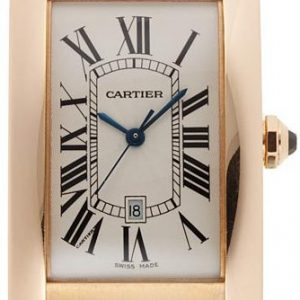 Cartier Tank Américaine gr. Modell Rotgold Leder Saph. Ref. W2609156