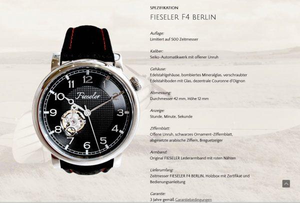 Fieseler Zeitmesser Fieseler F4 Berlin Lim. 500 pcs. Ref. 8062
